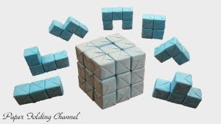 getlinkyoutube.com-Origami Puzzle 3x3x3 3D Cube