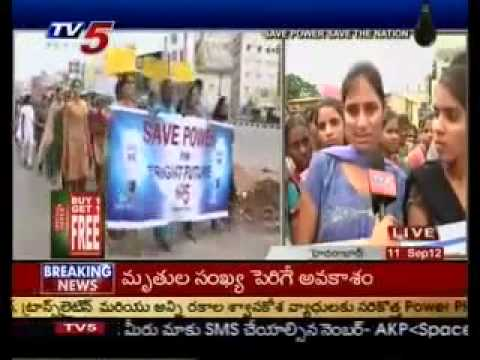 LB Nagar Sri Triveni College Students Supports Tv5 Save Power Rally   YouTube 360p