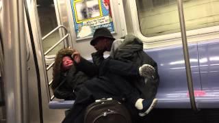 getlinkyoutube.com-Freaky weird couple smoking weed in train , New York .