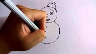 getlinkyoutube.com-วาดการ์ตูนกันเถอะ สอนวาดการ์ตูน ตุ๊กตาหิมะ สโนว์แมน ง่ายๆ หัดวาดตามได้