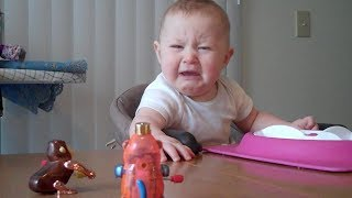 getlinkyoutube.com-Baby is freaked out by monkey toy | Unhappy Babies and Toddlers | toddletale