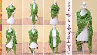 getlinkyoutube.com-Chal con sisas triangular multiusos tejido en nudo salomon a crochet / English subtitles!