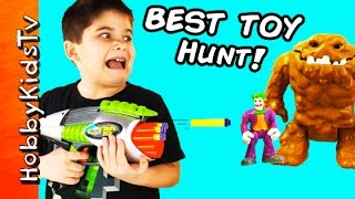 getlinkyoutube.com-Toy Hunt! Blaster Shoots MiniFig Lego Bricks + Imaginext Batman Superman Tek 10 HobbyKids
