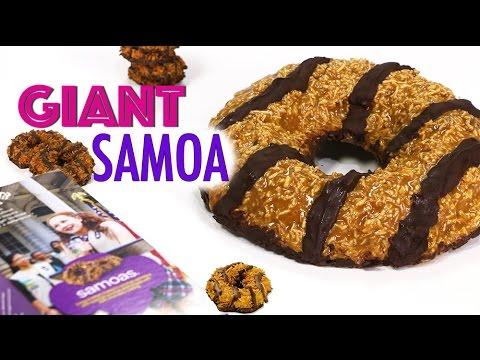 GIANT SAMOA COOKIE | Girl Scout Cookies - Chocolate Caramel Shortbread SAMOAS