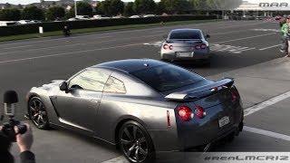 getlinkyoutube.com-Nissan GTRs - Saleen Mustang - Blacked Out Ferrari 360 - Leaving CC Irvine