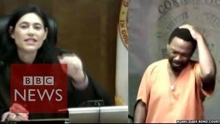 Moment judge recognised school friend in dock - BBC News width=