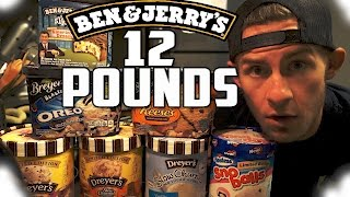 ONE MAN VS. 12 POUNDS OF ICE CREAM   10,000+ CALORIES