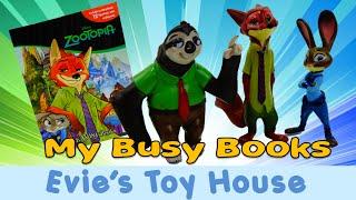 getlinkyoutube.com-Disney Zootopia My Busy Books Review - Judy Hopps, Nick Wilde, Flash the Sloth | Evies Toy House
