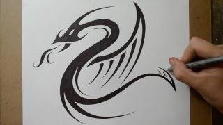 getlinkyoutube.com-Designing a Tribal Dragon Serpent   Tattoo Design
