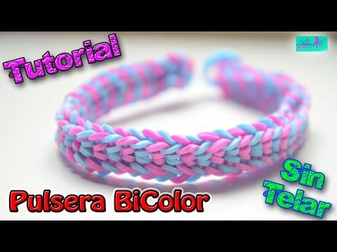 ♥ Tutorial: Pulsera Bicolor de gomitas (sin telar) ♥