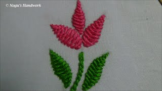 getlinkyoutube.com-Herringbone Stitch(Filling Flower&Leaf)-Chain Stitch-Hand Embroidery Tutorials By Nagu's Handwork