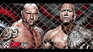 getlinkyoutube.com-The Rock vs Batista Steel Cage full match - WrestleMania #wwe2k16