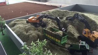 RC FARMER TRACTOR  farming in action at silage with a Excavator