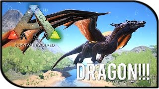 """ARK: Survival Evolved DRAGON GAMEPLAY - """"THE TAMED DRAGON!!!"""""""