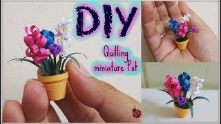 getlinkyoutube.com-Quilling miniature flower pot in 3d, diy