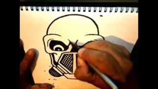 getlinkyoutube.com-How to Draw Skull with a Gas Mask by Wizard