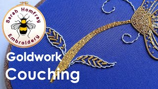getlinkyoutube.com-Hand Embroidery - Goldwork tutorial. Part 4 - couching gold threads.