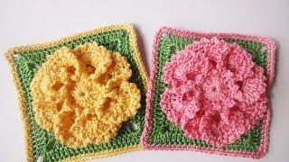 getlinkyoutube.com-Цветок в квадрате Flower in a square Crochet