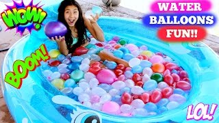 getlinkyoutube.com-WATER BALLOON FIGHT!! 4th of July Balloons Summer Fun!B2cutecupcakes