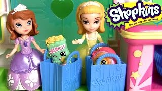 getlinkyoutube.com-Princess Sofia the First Going Shopping at the Shopkins Supermarket Mart with Peppa Pig Surprise Egg