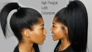 getlinkyoutube.com-High Ponytail using Clip ins Ft. KnappyHair Extensions