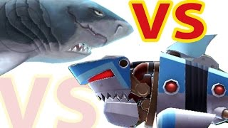 getlinkyoutube.com-Hungry Shark Evolution Megalodon vs Robo Shark in the SKy after big ShWeekend update