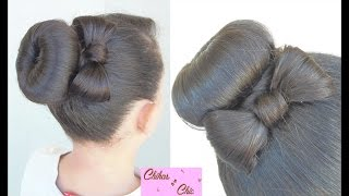 getlinkyoutube.com-Donut Bun Bow!! | Updo Hairstyles | Cute Girly Hairstyles