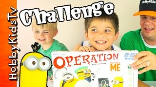 getlinkyoutube.com-Minions Operation Game CHALLENGE! HobbyPig + HobbyFrog Play by HobbyKidsTV