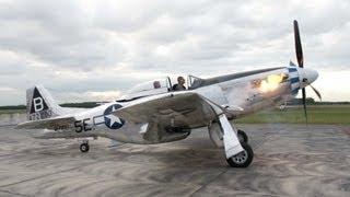 P-51 Mustang - Flames on Start Up Rolls-Royce Merlin - Flyover