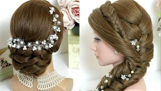 2 hairstyles for long hair. Bridal updo, mermaid side braid