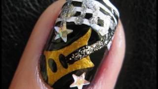 getlinkyoutube.com-Nail Art Tutorial Guitar Hero Rock Star Music Band Design for Short Nails Do Your Own Nails At Home