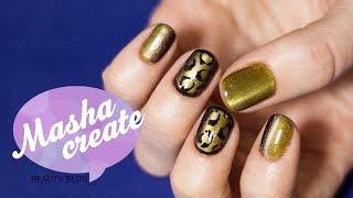 getlinkyoutube.com-Гель лак кошачий глаз. Леопардовый дизайн ногтей на гель лаке.