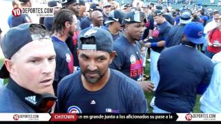 Chicago Cubs celebrate wild card playoff berth party at Wrigley Field