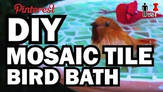 DIY Mosaic Tile Bird Bath - Man Vs. Pin - Pinterest Test #45 width=