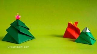 getlinkyoutube.com-Origami Christmas tree Box -3 Variations : : Caja Remolino