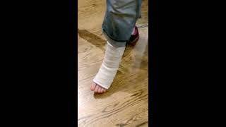 On Crutches Bandaged Foot
