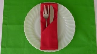 getlinkyoutube.com-Napkin Folding - Simple Pocket
