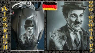 """getlinkyoutube.com-Airbrush by Wow No.664 """"S/W Portrait : Charlie Chaplin """" mit deutschem Kommentar HD"""