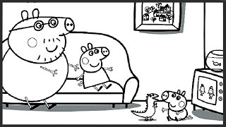 getlinkyoutube.com-Peppa Pig Watching TV with George and Daddy Pig Coloring Book Pages Video For Kids