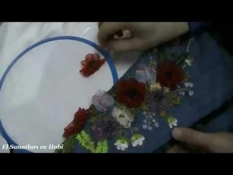 Gelincik Çiçeği Yapımı - Kurdele Nakışı