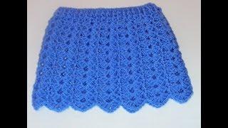 getlinkyoutube.com-Tutorial falda bebé fácil crochet punto fantasía calado y muestra falda muñeca