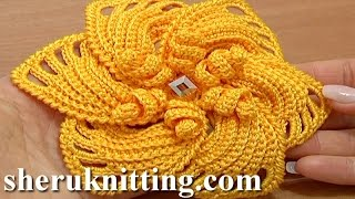 getlinkyoutube.com-Crochet 6-Petal Flower Spirals In Center Tutorial 59 Part 2 of 2 Reverse Single Crochet Trim