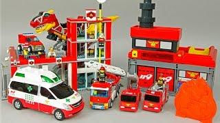 getlinkyoutube.com-레고 소방본부 소방차 헬로 카봇 댄디 구급차 119 파워레인저 다이노포스 로보카폴리 Robocar poli Hello Carbot LEGO PowerRanger Dinoforce