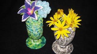 getlinkyoutube.com-DIY Вазочки из пластиковых бутылок. Мастер класс \ Vase from a plastic bottle video tutorial