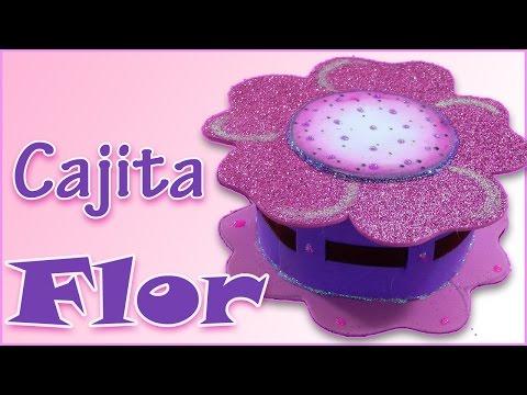 """Cajita """"Flor"""" de goma eva - Foamy box ."""