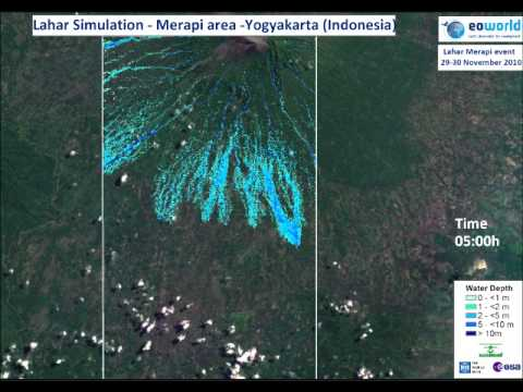 Flood hazard simulation corresponding to the Merapi lahar flood of November 2010.