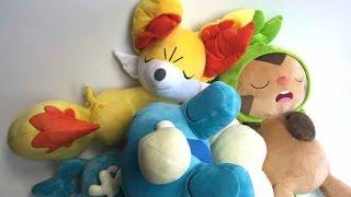 getlinkyoutube.com-Pokemon Center Japan New Year Sleeping Fennekin Froakie Chespin Plush Toys 2015