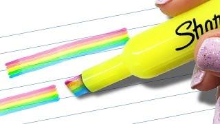 getlinkyoutube.com-DIY RAINBOW HIGHLIGHTER - Mind-Blowing HACK to Transform Your SCHOOL SUPPLIES!