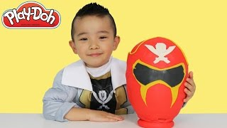getlinkyoutube.com-Play-Doh Surprise Egg Power Rangers Megaforce Super Samurai Blind Bags Toys Unboxing Ckn Toys