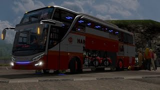 Harapan jaya SHD bawa motor harley || ets2 bus mod indonesia